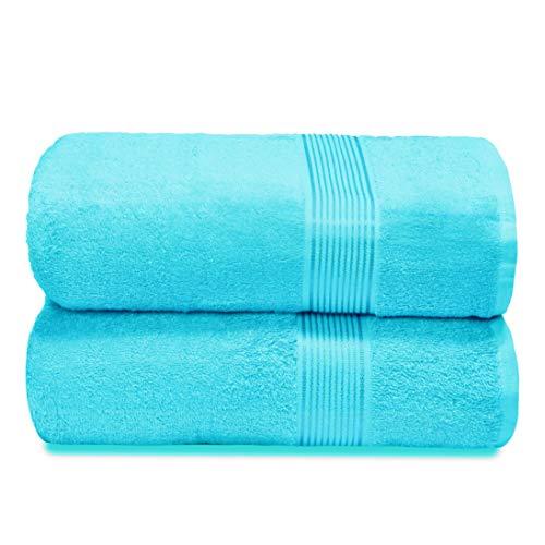 GLAMBURG Lot de 2 draps de Bain surdimensionnés en Coton 100 x 150 cm, Grandes Serviettes de Bain, Ultra absorbantes, compactes à séchage Rapide et léger, Bleu Turquoise