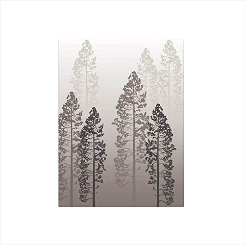 Decorative Privacy Window Film/Pine Trees in the Forest on Foggy Seem Ombre Backdrop Wildlife Adventure Artwork Decorative/No-Glue Self Static Cling for Home Bedroom Bathroom Kitchen Office Decor Warm
