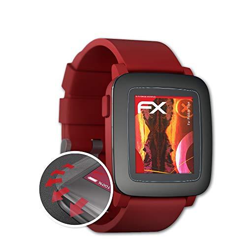 atFoliX Schutzfolie kompatibel mit Pebble Time Folie, entspiegelnde & Flexible FX Bildschirmschutzfolie (3X)