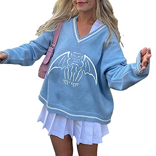 Suéter de punto Y2K para mujer, casual, cuello en V, estampado de murciélago de manga larga, azul, M