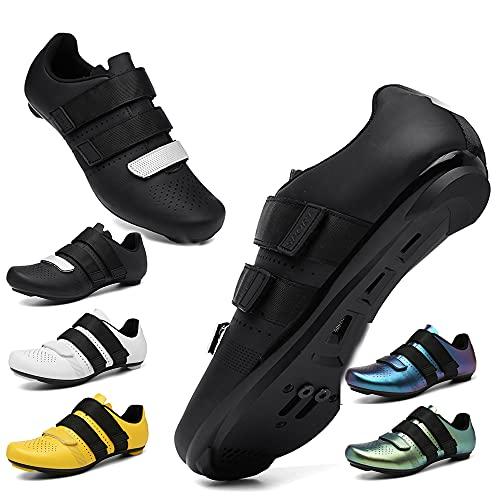 KUXUAN Zapatillas de Ciclismo Hombre Mujer con Bloqueo Bicicleta de Carretera Zapatillas Eléctricas Primavera Verano Bicicleta de Montaña Zapatillas Deportivas,Black-46EU
