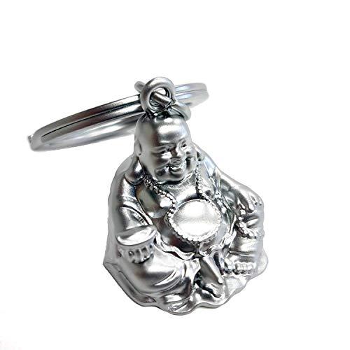 Porte-clés Premium Bouddha de Bonne Chance et Bonheur. Finitions en Acier Inoxydable et Alliage de Zinc.
