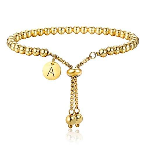 FSYX Pulsera de los Hombres Pulsera Ajustable con Cuentas Regalo de joyería para Mujer Acero Inoxidable Primera Letra Charm Bracelet S Gold Adjustable