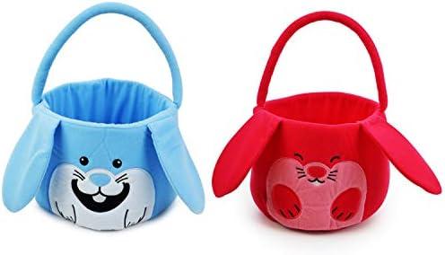 JOYIN 2 Packs Easter Bunny Plush Basket Set for Easter Eggs Hunt Easter Gift Baskets Bags for product image
