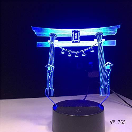 Japanischer Schrein Schrein USB 3D LED Nachtlicht mehrfarbige Weihnachtsgeschenk Dekoration Lampe Schreibtisch Lampe Schlafzimmer