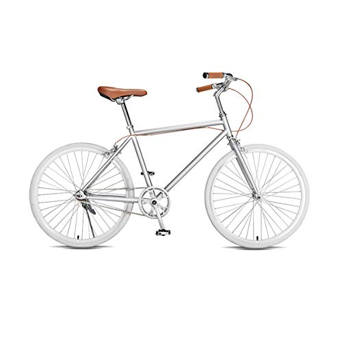Sale!! Hengtongtongxun Bike, 24-inch Adult Male and Female Bicycle, City Commuter, Student Ordinary Light Bicycle The Latest Style, Simple Design (Color : Silver, Size : 24 inch)