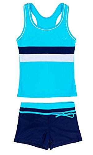 SwissWell Mädchen Bikini Bademode 2-teilig Sport UV-Schutz Badeset Badeanzug Set 3 Stripes Badeshirt und Badeshorts für 12-13 Jahren Blau