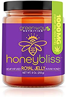Honeybliss – Raw Clover Honey with Royal Jelly and 1000mg Hemp Extract - 9oz Glass Jar | 100% Pure, Unfiltered Raw Honey I...