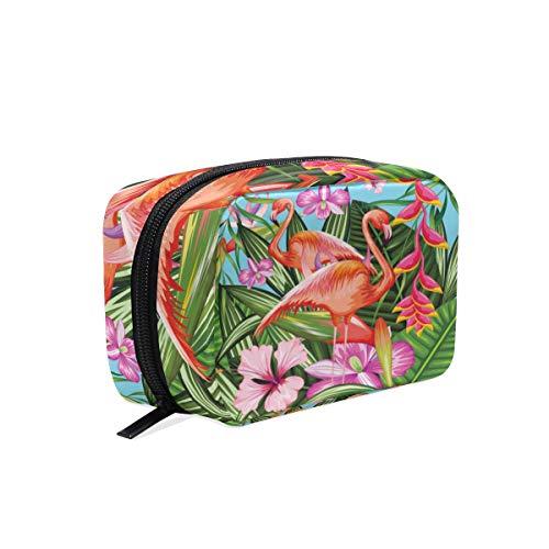 Mnsruu Sac de rangement portable pour maquillage et maquillage - Motif flamant rose tropical - Motif feuilles de palmier - Cadeau idéal pour femmes et filles