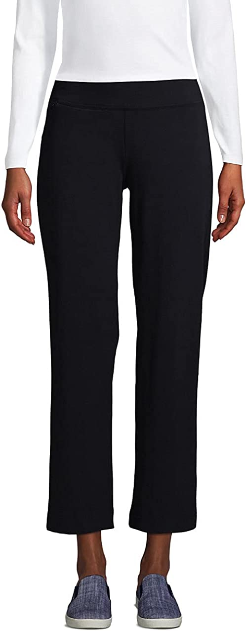 Lands' End Women's Starfish Mid Rise Elastic Waist Pull On Crop Pants