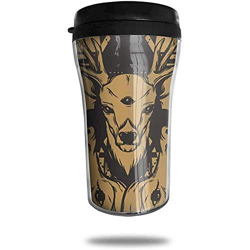 Herten en boze wolf hoofd reizen koffie mok gedrukt draagbare vacuüm beker, geïsoleerde thee Cup waterfles Tumblers voor het drinken