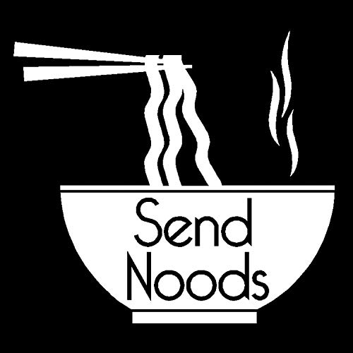 Send Noods Decal, Send Nudes Noodle Sticker, Send It Vinyl Sticker, #sendnudes Sticker (H 5 by L 5 Inches, White)