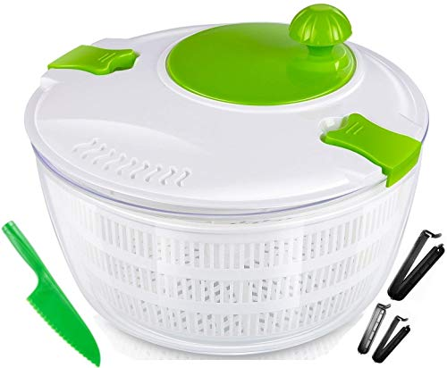 OLIVIA & AIDEN Salad Spinner Set - Includes Large Salad Spinner With Colander and Dishwasher Safe Bowl, Lettuce Knife, and 3 Airtight Bag Clips - Salad Prep Set | 4.5 Quart
