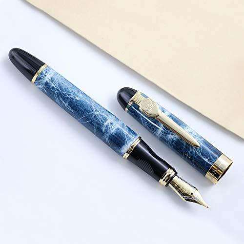 Neue Version JINHAO X450 Füllfederhalter Luxus 18KGP M Nib kalligraphie füller hochwertige schreibgeräte (Blau)