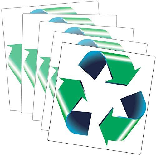 Paquete de 5 pegatinas de tamaño grande para reciclaje, color verde, blanco y azul, de la marca Retail Genius Grandes adhesivos de plástico reciclado, papel, cartón, vidrio y contenedores reciclables de aluminio.