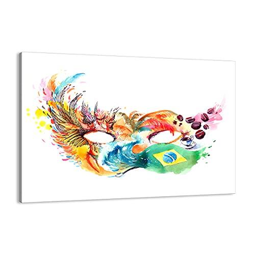 Cuadro sobre lienzo - Impresión de Imagen - bandera Carnaval Brasil - 100x70cm - Imagen Impresión - Cuadros Decoracion - Impresión en lienzo - Cuadros Modernos - Lienzo Decorativo - AA100x70-3036