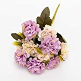 SJHQ Flor Preservada Hortensias de Seda Flores Artificiales Flores de Boda Blancas Pequeño Ramo Flower Flower Party Home for Decoration Pink Flor Artificial