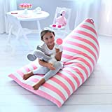 Butterfly Craze Stuffed Animal Storage Bean Bag Chair Cover – Stuff 'n Sit Toy Bag Floor Lounger for Kids, Teens and Adult |Extra Large 200L/52 Gal Capacity |Premium Cotton Canvas (Pink Stripe)