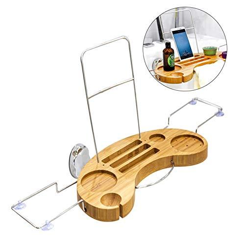 MooKe Strapazierfähiges Hölzernes Badewannenfach - Hängendes Badewannen-Badewannenablagegestell Mit Buchweinglasbehälterhalter