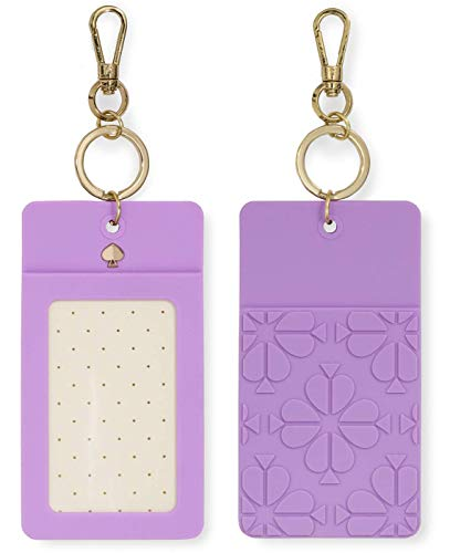 Kate Spade New York I.D. Badge Clip Gold Key Chain, Spade Flower (Purple)