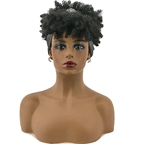 2 en 1 peluca para la cabeza, flequillo, alta, esponjosa, pelo corto, pelo africano, rizado peluca rizada, con bufanda, adecuado para damas o actuaciones de escenario black