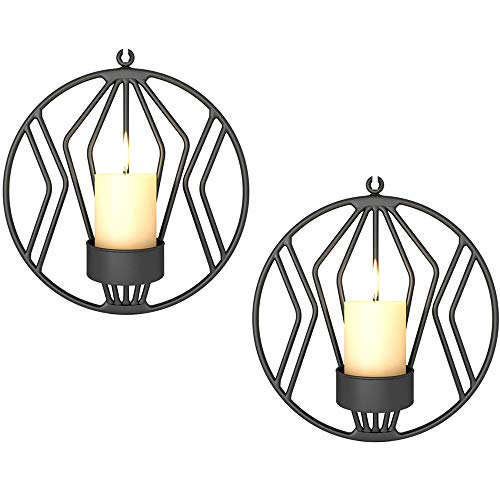 Wall Candle Sconce for Small Pillar Candle, Metal Tealight Holders Wall Decorations for Bathroom Patio Living Room Decoration Black Set of 2