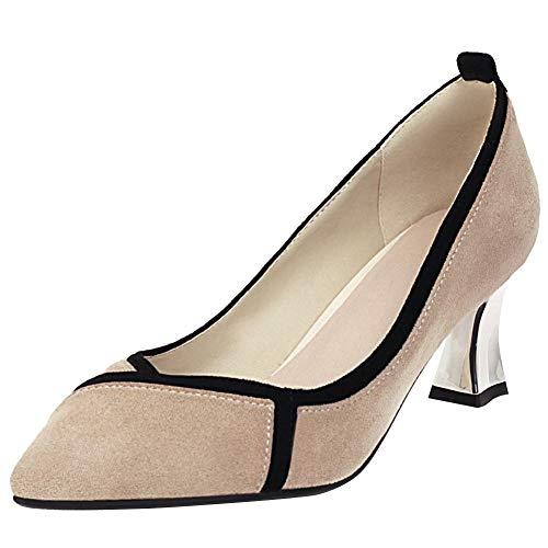 OUWANG Damen zweifarbig high Heels Geschlossen Pumps(39 EU,Beige)