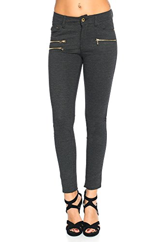 Freyday Modische Bequeme Damen Jeggings Leggings Hüfthose Stretch Slimfit (Anthrazit Meliert, S / 36)
