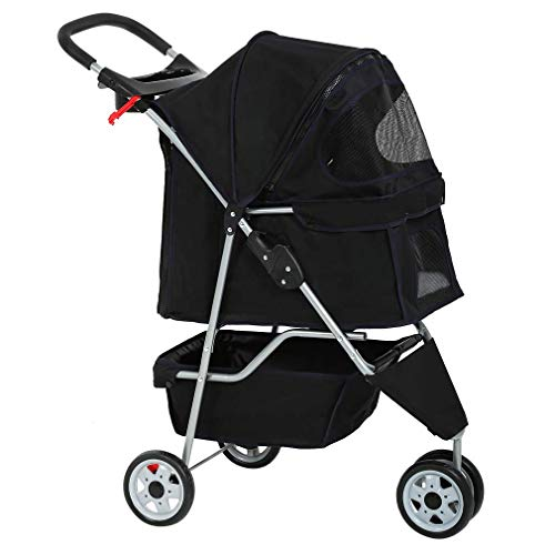Dog Stroller Pet Stroller Cat Stroller for Medium Small Dogs Foldable Travel 3 Wheels Waterproof...