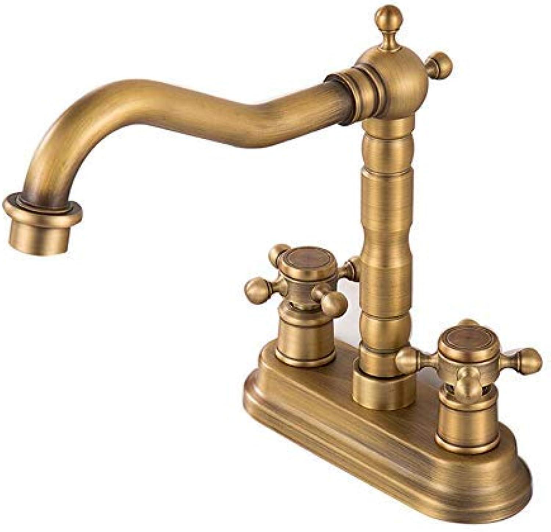 Oudan Faucet Basin Faucetcopper Antique Double Hole Basin Faucet European Retro redatable Hot and Cold Wash Basin Wash Basin Washbasin Faucet (color   -, Size   -)