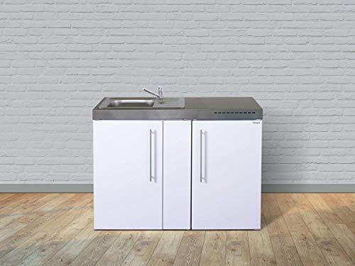 Stengel Miniküche Premiumline MP 120 kleine Küchenzeile mit Kühlschrank und Kochfeld, Pantryküche, Kompaktküche - Farbe: weiß/Breite: 120cm