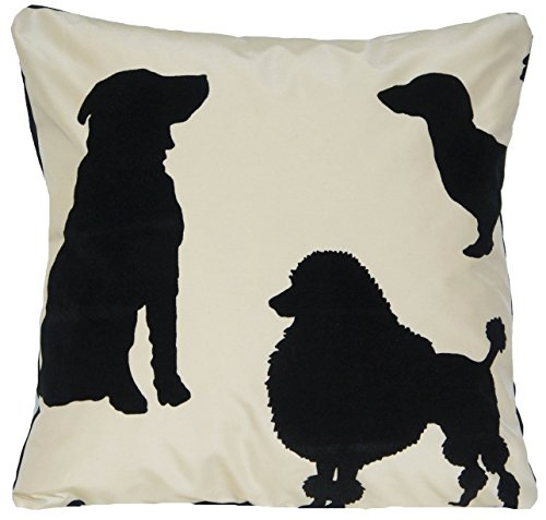 Black & White Dogs Decorative Pillow Case Silk Cushion Cover Osborne and Little Fabric Best In Show