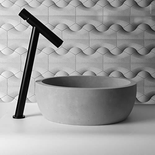Modernes Beton Waschbecken, 15,7 Zoll Runde Schüssel Design für Badezimmer Toilette Flughafen Office Hotel, Vintage Grey,Basin + Faucet