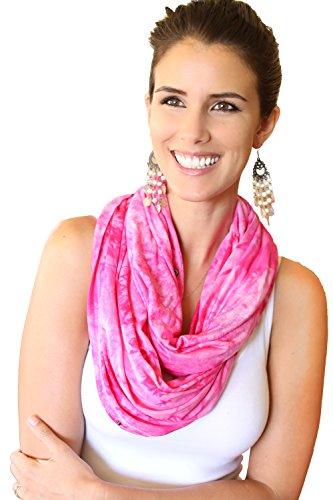 Écharpe de soins infirmiers Infinity – Protection de la vie privée pour l'allaitement bébé –modèle de teinture cravate rose