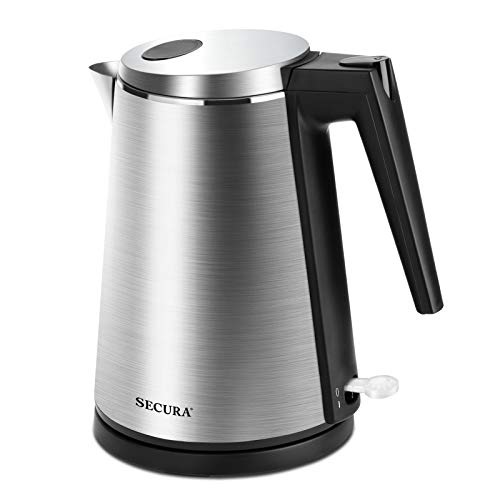 Secura Electric Kettle Water Boiler for Tea Coffee Stainless Steel 1.5L Large Cordless Hot Water Pot BPA Free with Auto Shut-Off Boil-Dry Protection LED Light (K15-F1E)