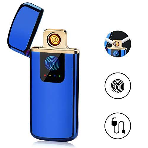 ASANMU Mechero Electrico, USB Encendedor Electrico Pantalla Táctil Mechero USB Mechero Electric Indicador de Batería sin Llama, a Prueba de Fuego, a Prueba de Viento, Cable USB y Caja de Regalo (Azul)
