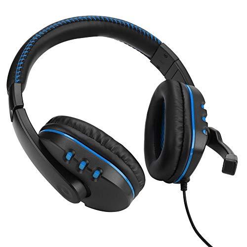 Op het hoofd gemonteerde gaming-hoofdtelefoon, Computerheadset Hoge prestaties, met subwoofer Spraakspoelluidsprekers, Luchtringopening, Ruisonderdrukkingsmicrofoon, Met zachte oorkappen(Zwart blauw)