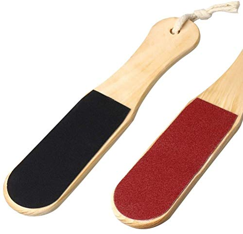 nuosen Double Sided Foot File, Wooden Foot Scrubber Rasp for Feet Hard Skin...