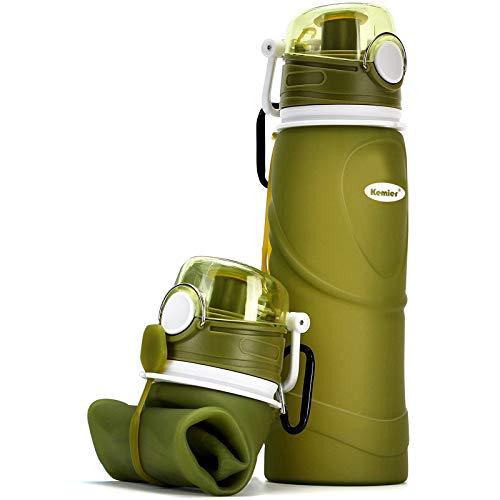 Kemier kollabierbare Silikon-Wasserflaschen-750ML, Medizinische Qualität, BPA-Frei, FDA-Zugelassen, Aufrollen, 26oz, auslaufsicher, Faltbar Sport & Outdoor-Wasserflaschen (Grün)