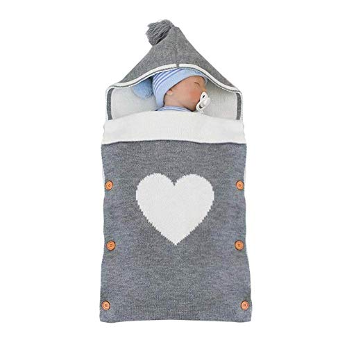 Saco de Dormir para Recién Nacidos Manta para Dormir Bebé con Capucha Manta Saco Niños Niñas Infantil Cálido Bebé Envolvente Manta de Algodón Retangular Manta para Envolver Bebé para 0-9 Meses