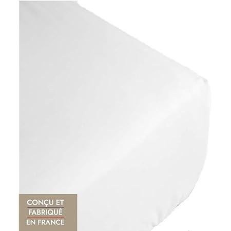 Drap Housse 160x200 Bonnet 30 cm Blanc, Fabriqué en France. Draps Housses 100% Coton 4 Coins Extensible, Respirant et Doux Grand Bonnet pour Matelas épais