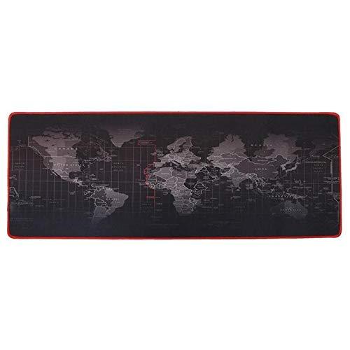 JINAN Alfombrilla de ratón extragrande con diseño de mapa del mundo de goma natural de 0,2 cm de grosor para mesa de escritorio o videojuegos, 30 x 60/30 x 70/30 x 80/40 x 90 cm (color: 30 x 70 cm)