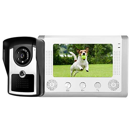7' Videoportero Intercomunicador, Cámara de Vigilancia Exterior+Monitor Interior, Visión Nocturna, Intercomunicador Bidireccional, Antirrobo Timbre Intercomunicador para Casa/Tienda/Hotel(EU)