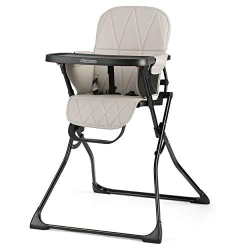 Kinder Hochstuhl Kindersitz mit abnehmnbarem Tablett Fußstütze Sicherheitsgurt Zusammenklappbar leicht platzsparend Rickids (Schwarz-Grau)
