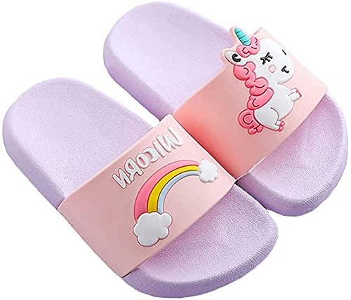Ksnnrsng Chanclas para Niñas Zapatos de Ducha, Playa y Piscina Sandalias de Baño Antideslizantes Sandalias de Unicornio (púrpura, Numeric_26)