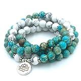 Mala'Lotus' mit 108 Perlen aus Jaspis Ocean und weißem Howlith