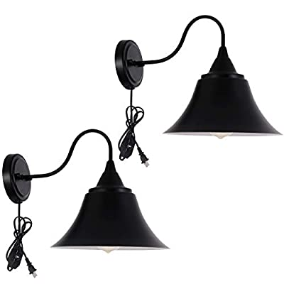 Larkar Dimmable Wall Lamp Black Industrial Vintage Farmhouse Wall Sconce Lighting Gooseneck Wall Light Fixture with Plug in Cord and On Off Switch for Bedroom 2 Pack