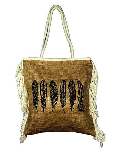 BALI PAPAYA Sac à main Cabas Panier Toile de jute Plage Ethnique Vintage Artisanal Doublé Bohème Femme Écologique Naturel plumes