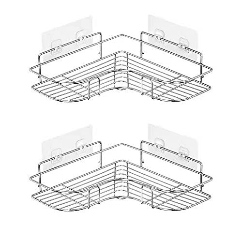 BUCULTD 90 Grados ángulo Recto sin Estante de Ducha Perforada, Estante de Ducha de 2 Paquetes de Ducha + Base Adhesiva, Organizador de Almacenamiento de Acero Adecuado para baño de Esquina