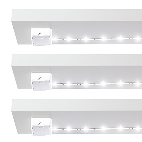 Luminoodle Under Cabinet Lighting – Click LED Light Strip for Shelves, Kitchen Cabinets, & Furniture, 3-Pack Includes Power Button & Tape Adhesive - Warm White (2700K)
